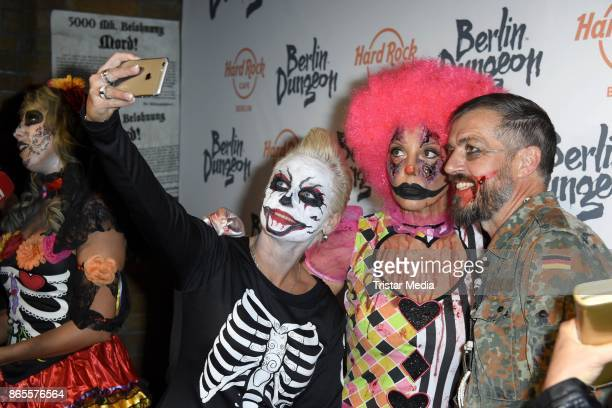 Harry Seedorf Natascha Ochsenknecht and Jana Windolph during the Halloween party by Natascha Ochsenknecht at Berlin Dungeon on October 23 2017 in...