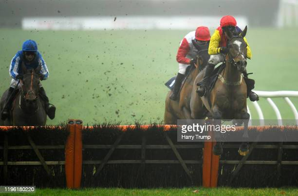 Harry Senior ridden by Robbie Power jumps the last before going on to win the Coral 'Fail To Finish' Free Bets Maiden Hurdle at Chepstow Racecourse...