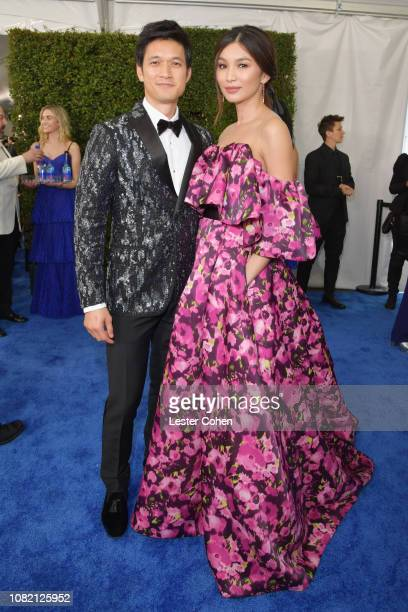 Harry Shum Jr and Gemma Chan attend the 24th annual Critics' Choice Awards at Barker Hangar on January 13 2019 in Santa Monica California