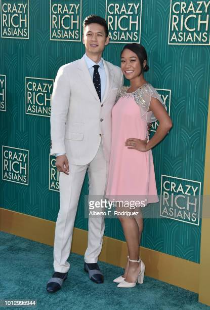 Harry Shum Jr and Shelby Rabara attend the premiere of Warner Bros Pictures' 'Crazy Rich Asiaans' at TCL Chinese Theatre IMAX on August 7 2018 in...
