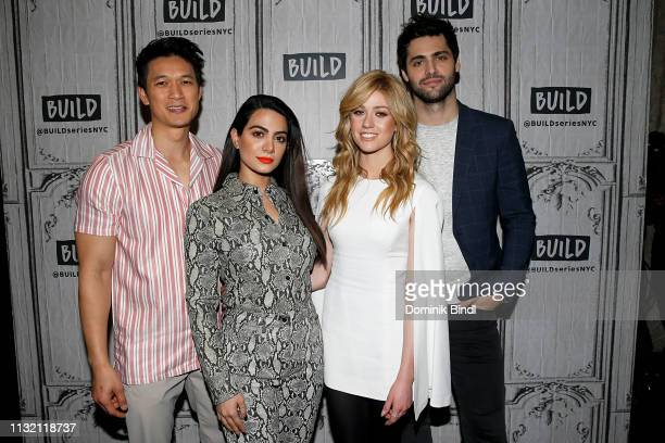 Harry Shum Jr Emeraude Tobia Katherine McNamara and Matthew Daddario attend Build Series to discuss 'Shadowhunters' at Build Studio on February 25...