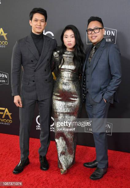 Harry Shum Jr host Awkwafina and Nico Santos attend the 22nd Annual Hollywood Film Awards at The Beverly Hilton Hotel on November 4 2018 in Beverly...