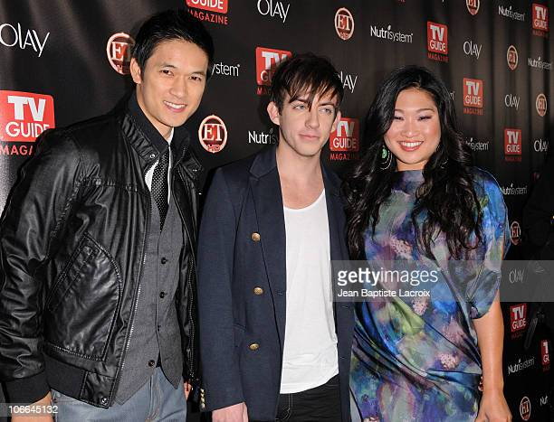 Harry Shum Jr., Kevin McHale and Jenna Ushkowitz arrive at the TV Guide Magazine 2010 Hot List Party at Drai's Hollywood on November 8, 2010 in...