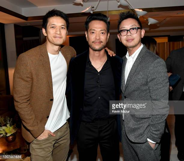 """Harry Shum Jr., Louis Ozawa Changchien and guest attend the World Premiere Of Amazon Original """"Hunters"""" at DGA Theater on February 19, 2020 in Los..."""