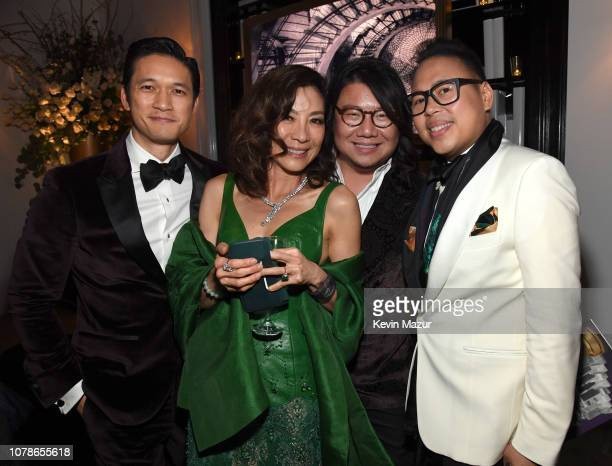 Harry Shum Jr, Michelle Yeoh, Kevin Kwan and Nico Santos attend the 2019 InStyle and Warner Bros. 76th Annual Golden Globe Awards Post-Party at The...