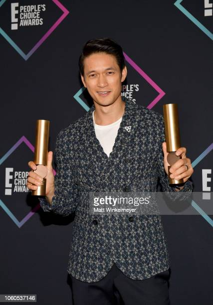 Harry Shum Jr of Shadowhunters The Mortal Instruments Show of 2018 poses in the press room during the People's Choice Awards 2018 at Barker Hangar on...