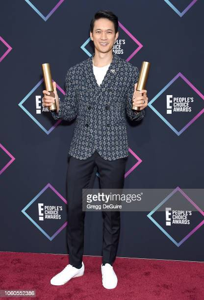 Harry Shum Jr of Shadowhunters The Mortal Instruments Show of 2018 poses in the press room at the People's Choice Awards 2018 at Barker Hangar on...