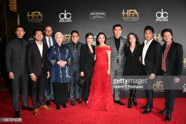 Harry Shum Jr., Ronny Chieng, Bradford Simpson, Lisa Lu, Nico Santos, Michelle Yeoh, Constance Wu, Henry Golding, Nina Jacobson, Jon M. Chu, and John...