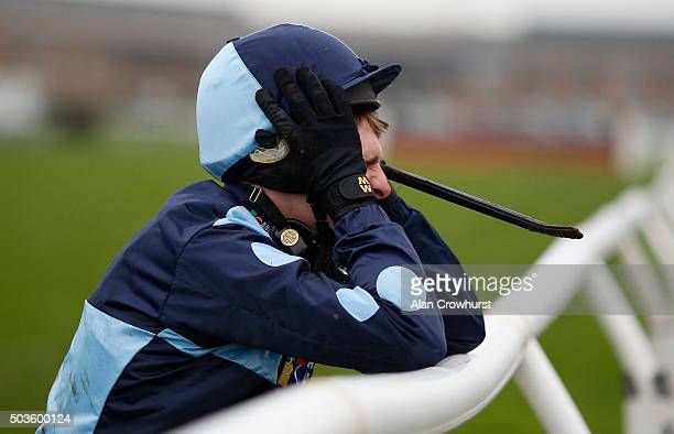 Harry Skelton grimaces after Value At Risk falls at the open ditch in The Racing UK Profits Returned To Racing Novices' Steeple Chase at Huntingdon...