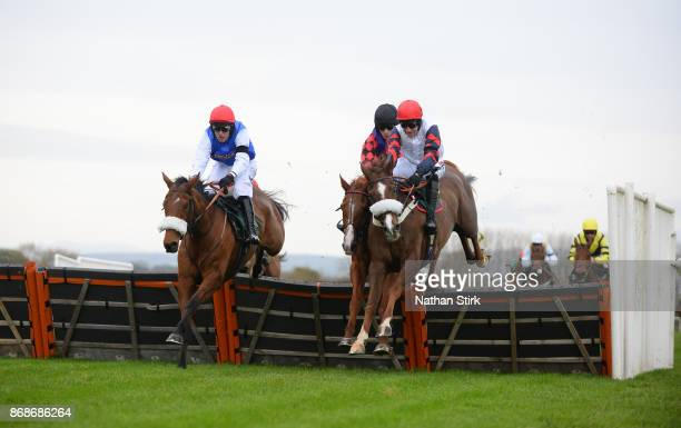 Harry Skelton rides Zalvados during The HN Nuttall LTD Novices Hurdle Race at BangorOnDee Racecourse on October 31 2017 in Bangor Wales