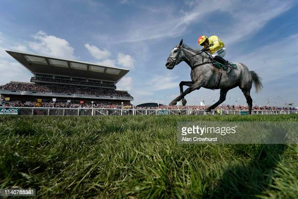 Harry Skelton riding Aux Ptits Soins win The Gaskells Handicap Hurdle on Grand National Day at Aintree Racecourse on April 06, 2019 in Liverpool,...