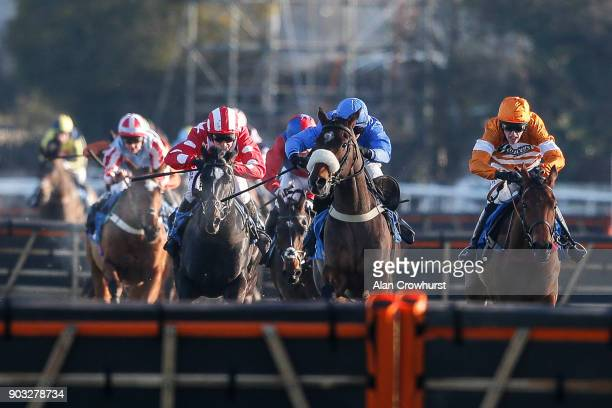 Harry Skelton riding Comrade Conrad approach the last to win The Racing UK Maiden Hurdle at Ludlow racecourse on January 10 2018 in Ludlow England