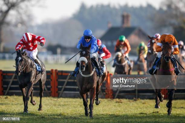 Harry Skelton riding Comrade Conrad clear the last to win The Racing UK Maiden Hurdle at Ludlow racecourse on January 10 2018 in Ludlow England