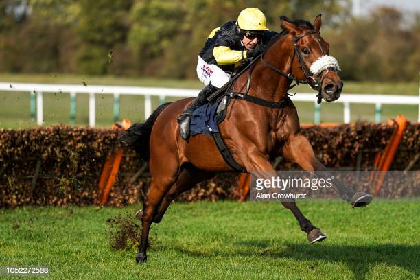 Harry Skelton riding Denmead clear the last to win The Follow huntingdon_race On Twitter Novices' Hurdle at Huntingdon Racecourse on October 16 2018...