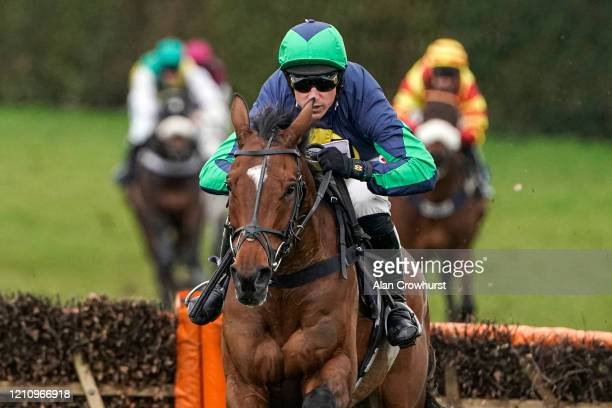 Harry Skelton riding Northofthewall clear the last to win The Enjoy The Cheltenham Festival With MansionBet Novices' Hurdle at Hereford Racecourse on...