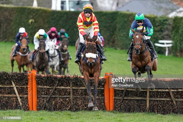 Harry Skelton riding Northofthewall on their way to winning The Enjoy The Cheltenham Festival With MansionBet Novices' Hurdle at Hereford Racecourse...