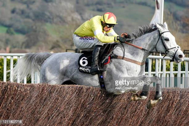 Harry Skelton riding Politologue clear the last to win The Betway Queen Mother Champion Chase on Ladies Day at Cheltenham Racecourse on March 11,...