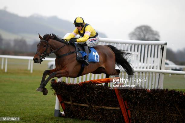 Harry Skelton riding Shantou Rock clear the last to win The Bromfield âNational Huntâ Maiden Hurdle Race at Ludlow racecourse on February 8 2017 in...