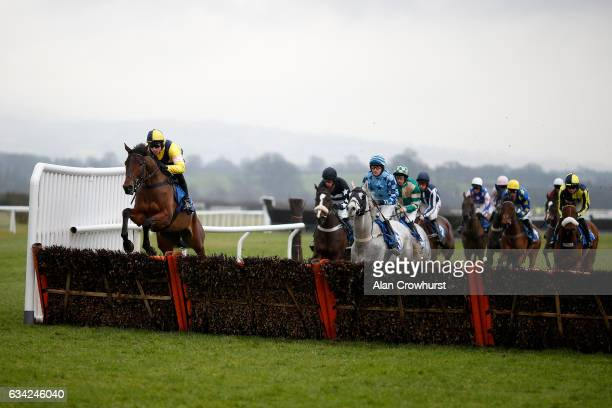 Harry Skelton riding Shantou Rock lead all the way to win The Bromfield âNAtional Huntâ Maiden Hurdle Race at Ludlow racecourse on February 8 2017 in...