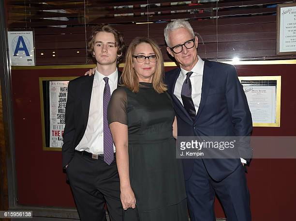 Harry Slattery Talia Balsam and John Slattery attend the 'The Front Page' Broadway Opening Night after party at Sardi's on October 20 2016 in New...