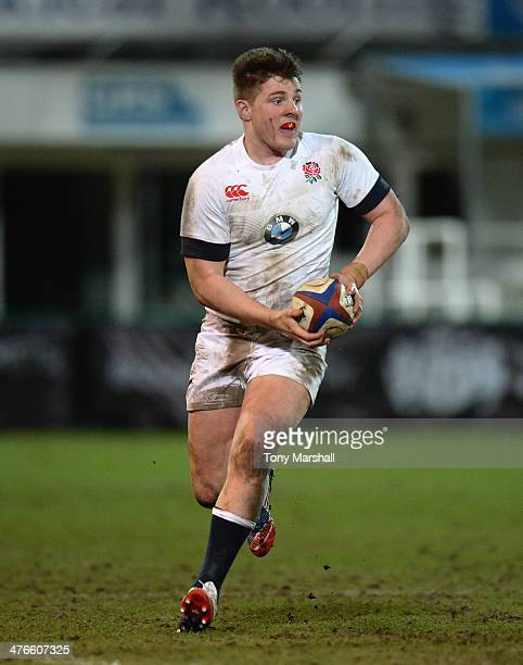Harry Sloan of England during the RBS U20 Six Nations match at Franklin's Gardens on February 22 2014 in Northampton England