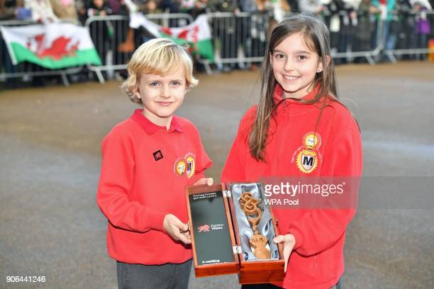 Harry Smith and Megan Taylor both from Marlborough Primary School pose with a wedding gift they will present to Prince Harry and his fiancee Meghan...