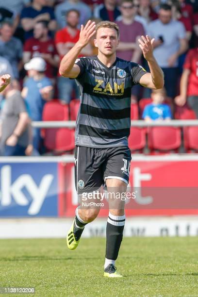 Harry Smith celebrates after scoring for Macclesfield Town and equalises to bring the score level at 1 1 against Northampton Town during the Sky Bet...