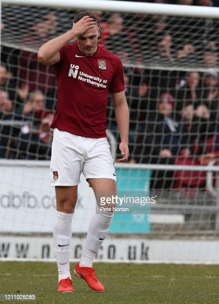 Harry Smith of Northampton Town holds his head after seeing an effort go wide during the Sky Bet League Two match between Northampton Town and...