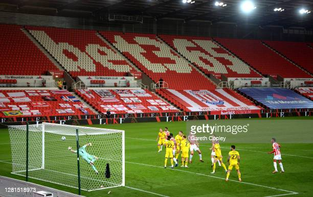 Harry Souttar of Stoke City heads towards goal during the Sky Bet Championship match between Stoke City and Barnsley at Bet365 Stadium on October 21...