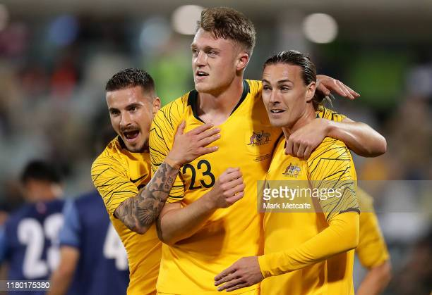 Harry Souttar of the Socceroos celebrates scoring a goal with team mates during the FIFA World Cup Qatar 2022 and AFC Asian Cup China 2023...