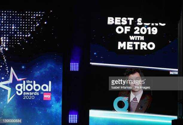 Harry Styles accepts the award on screen for Best Song of 2019 at the Global Awards 2020 with Verycouk at London's Eventim Apollo Hammersmith