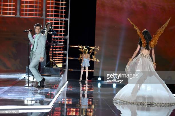 Harry Styles and Blanca Padilla walks the runway during the 2017 Victoria's Secret Fashion Show In Shanghai at MercedesBenz Arena on November 20 2017...