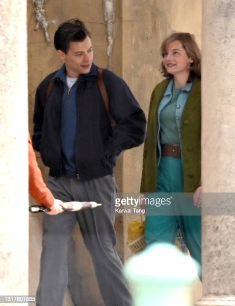 Harry Styles and Emma Corrin seen on the film set for 'My Policeman' on May 13, 2021 in Brighton, England.