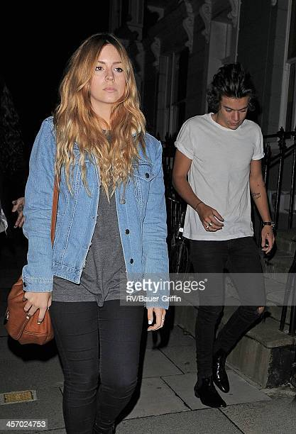 Harry Styles and Gemma Styles enjoy a night out with his sister Gemma Styles in Primrose Hill on September 15 2013 in London United Kingdom