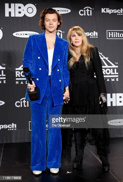 Harry Styles and inductee Stevie Nicks attend the 2019 Rock & Roll Hall Of Fame Induction Ceremony - Press Room at Barclays Center on March 29, 2019...