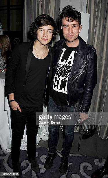 Harry Styles and Nick Grimshaw attend a party hosted by Vauxhall Motors to celebrate their collaboration with menswear designer James Small following...