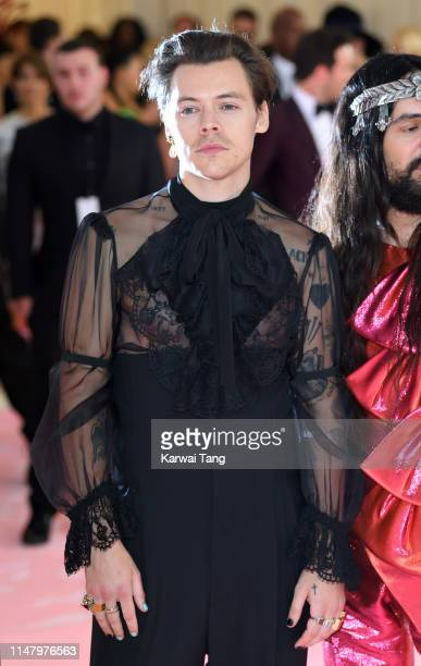 Harry Styles arrives for the 2019 Met Gala celebrating Camp: Notes on Fashion at The Metropolitan Museum of Art on May 06, 2019 in New York City.