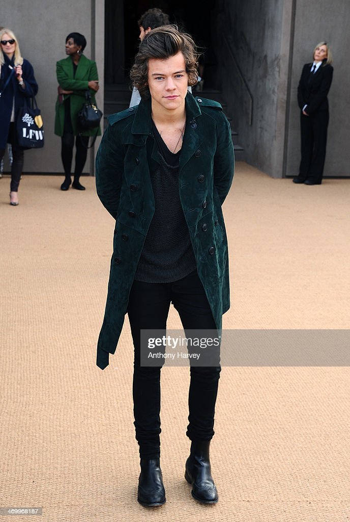 Harry Styles attends the Burberry Prorsum show at London Fashion Week AW14 at Kensington Gardens on February 17, 2014 in London, England.
