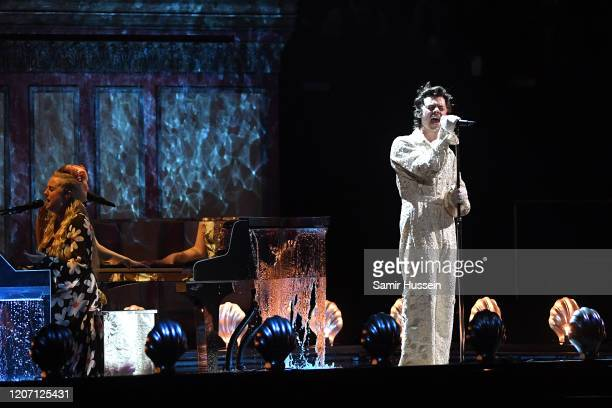 Harry Styles during The BRIT Awards 2020 at The O2 Arena on February 18, 2020 in London, England.