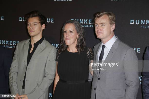 Harry Styles Emma Thomas and Christopher Nolan attend Dunkirk Premiere at Ocine on July 16 2017 in Dunkerque France