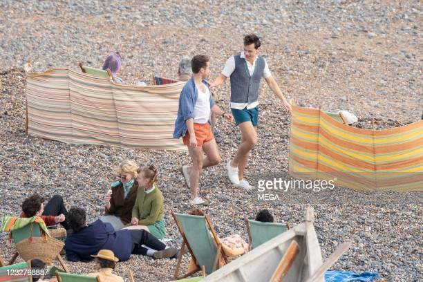"""May 7: Harry Styles is seen on the set of """"My Policeman"""" on May 7, 2021 in East Sussex , England."""