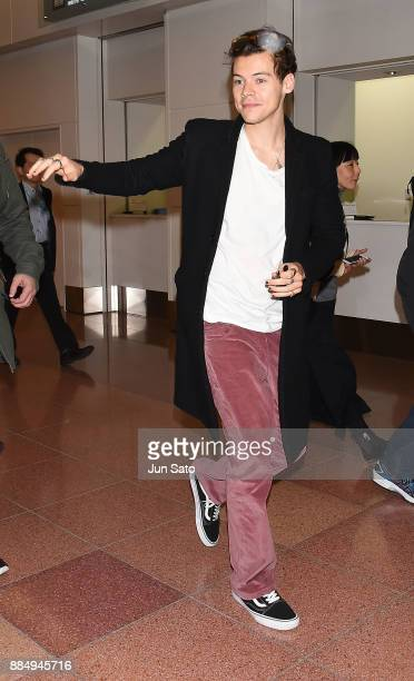 Harry Styles is seen upon arrival at Haneda Airport on December 4 2017 in Tokyo Japan