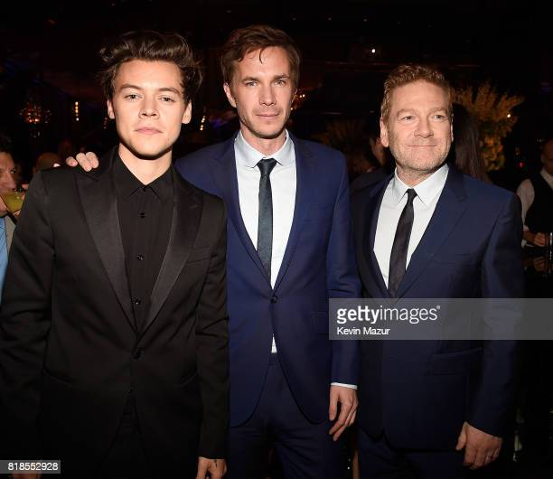 """Harry Styles, James D'Arcy and Kenneth Branagh attend the after party for the premiere of """"DUNKIRK"""" at The Rainbow Room on July 18, 2017 in New York..."""