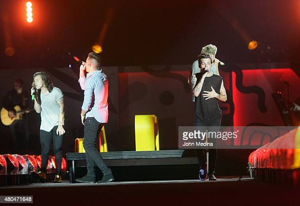 Harry Styles Liam Payne and Louis Tomlinson of One Direction perform at Levi's Stadium on July 11 2015 in Santa Clara California