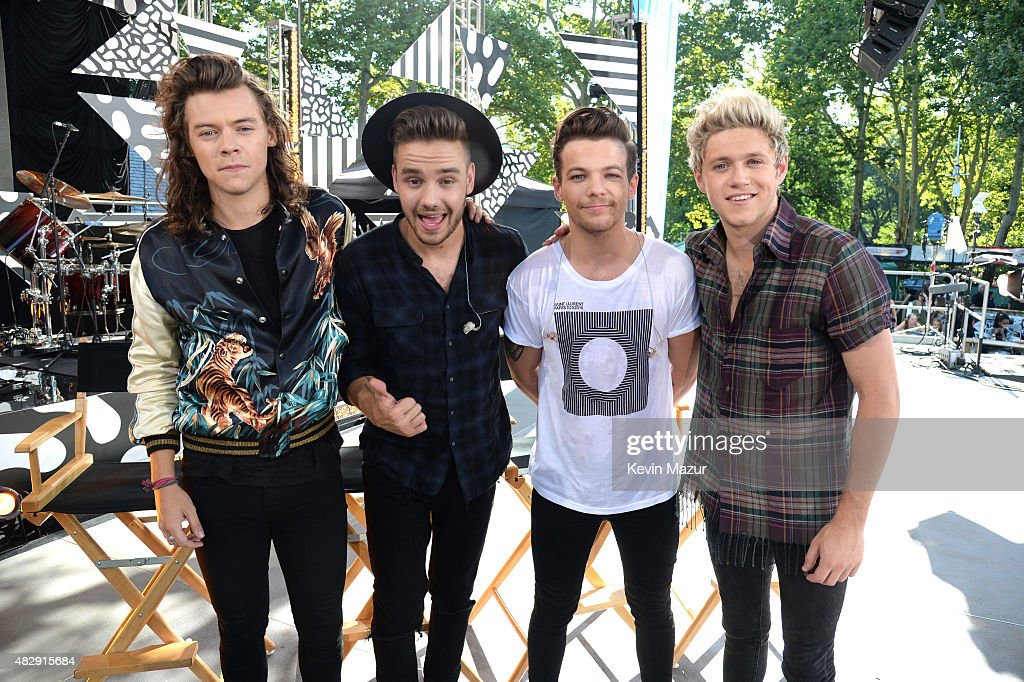 Harry Styles, Liam Payne, Louis Tomlinson and Niall Horan of One Direction pose onstage during ABC's 'Good Morning America' at Rumsey Playfield, Central Park on August 4, 2015 in New York City.