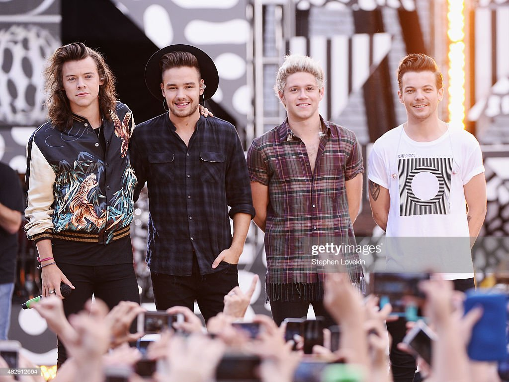 Harry Styles, Liam Payne, Niall Horan, and Louis Tomlinson of One Direction perform on ABC's 'Good Morning America' at Rumsey Playfield, Central Park on August 4, 2015 in New York City.