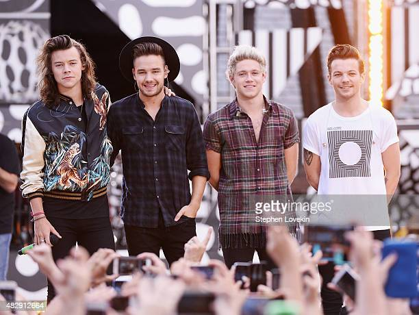 Harry Styles Liam Payne Niall Horan and Louis Tomlinson of One Direction perform on ABC's 'Good Morning America' at Rumsey Playfield Central Park on...