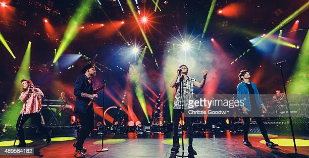 Harry Styles Liam Payne Niall Horan and Louis Tomlinson of One Direction perform on stage as part of Apple Music Festival at The Roundhouse on...