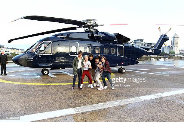 Harry Styles Liam Payne Niall Horan Louis Tomlinson and Zain Malik of One Direction travel in a luxury helicopter to Glasgow Manchester and Londonon...