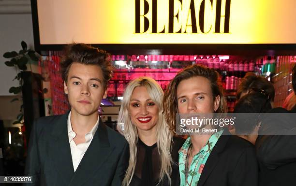 Harry Styles Lou Teasdale and Dougie Poynter attend the launch of Bleach London's new makeup and hair collections on July 13 2017 in London England